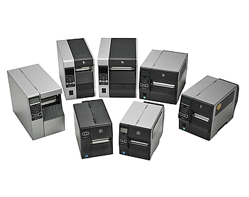 Image of a group of Zebra Industrial Printers