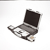 Image of a Panasonic Toughbook CF-29 Open with Extended Battery and Hard Drive Caddy